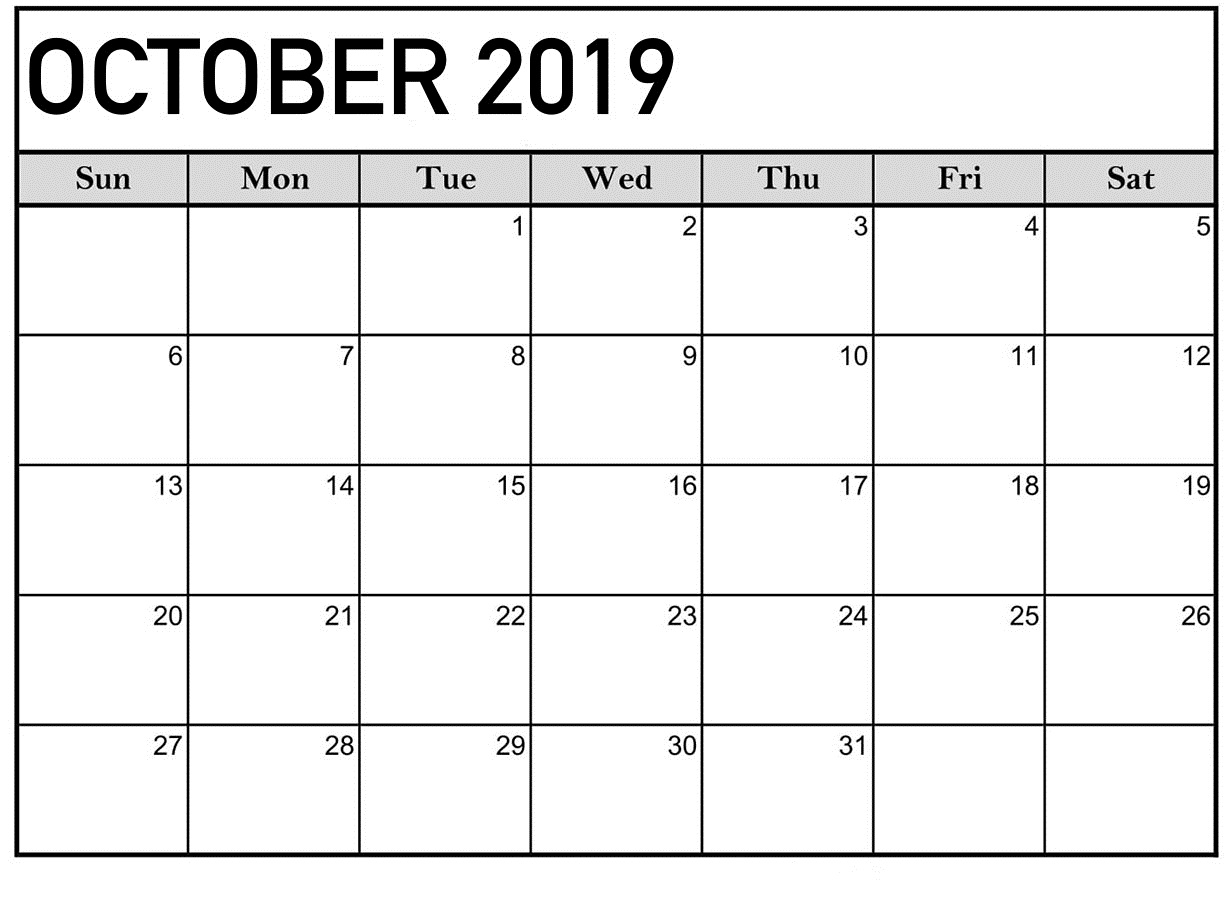 October 2019 Editable Calendar Template