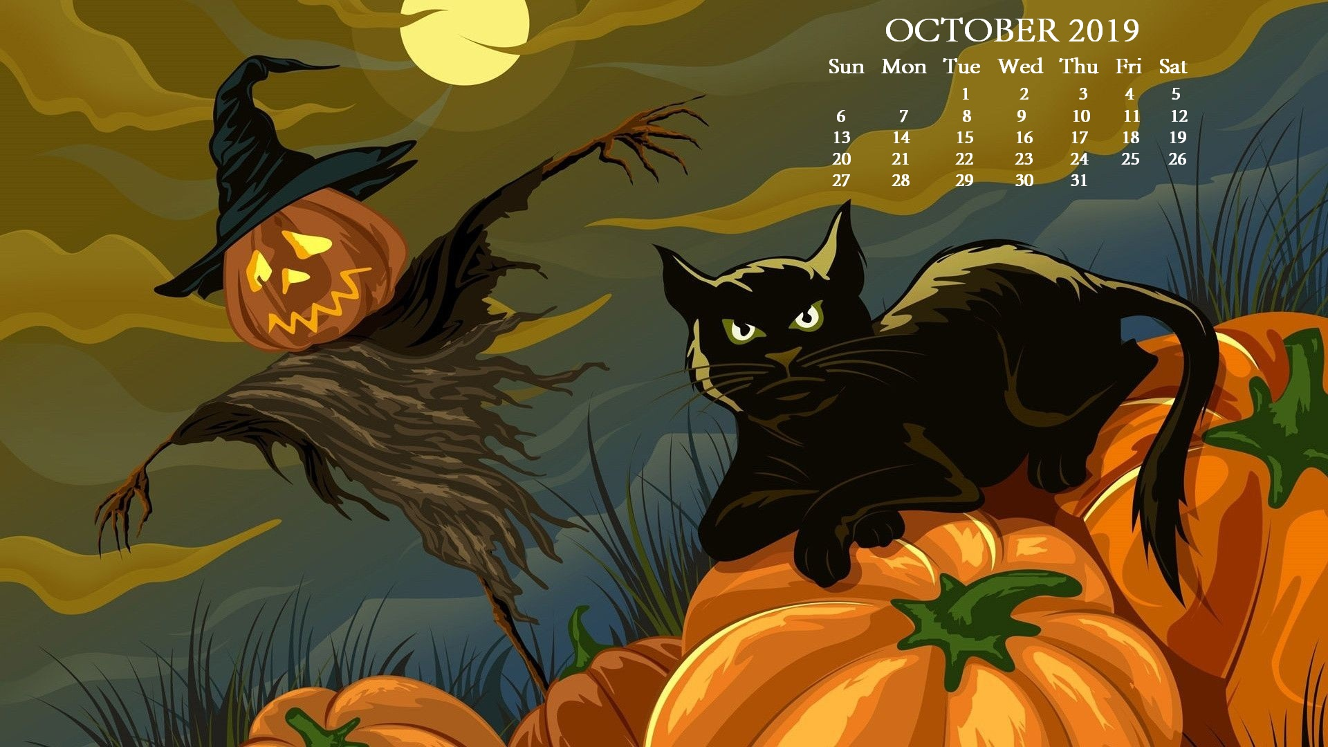 October 2019 HD Calendar Wallpaper