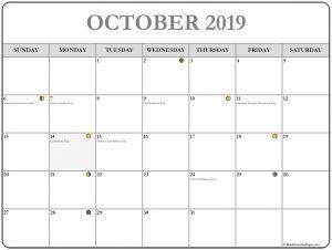 October 2019 Lunar Calendar Template