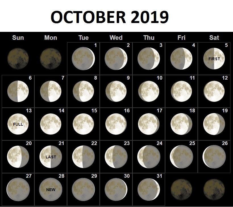 October 2019 Moon Phases Calendar