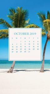 October 2019 iPhone Calendar Wallpaper
