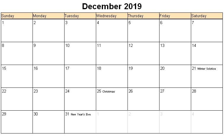 Print December 2019 Holidays Calendar