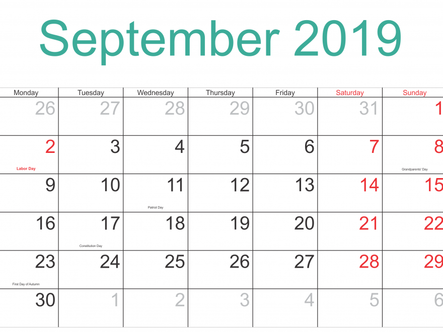 Printable September 2019 Holidays Calendar