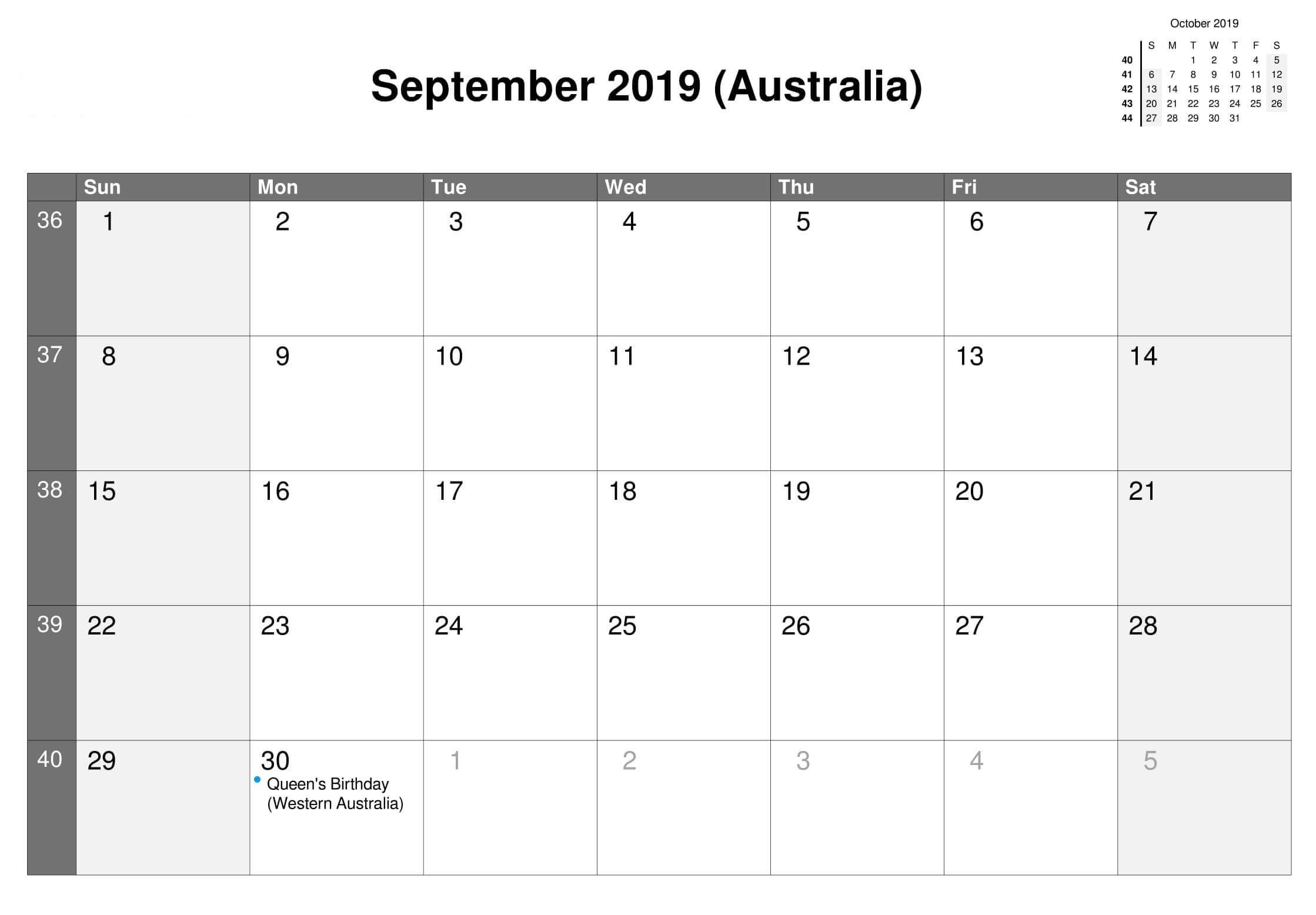 September 2019 Australia Holidays Calendar