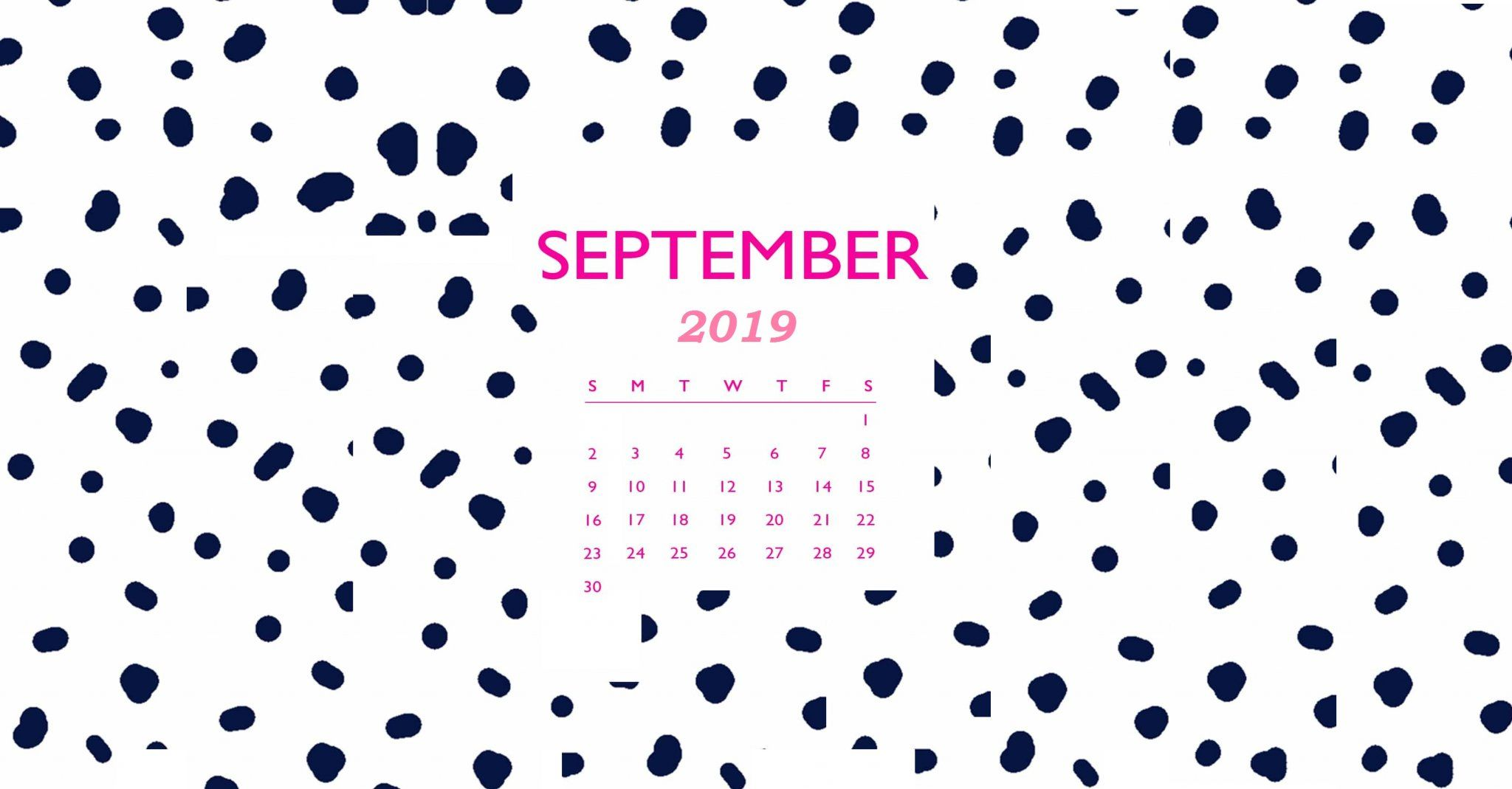 September 2019 Calendar Desktop Wallpaper