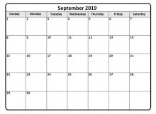 September 2019 Calendar Editable Template