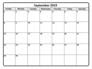 September 2019 Calendar Editable Template