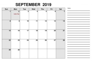 September 2019 Calendar UK National Holidays