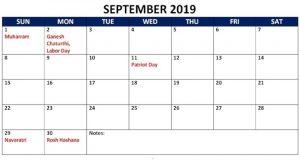 September 2019 Calendar With Public Holidays