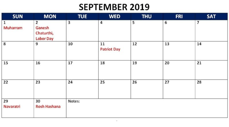 September 2019 Calendar With Public Holidays