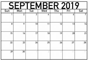September 2019 Editable Blank Calendar