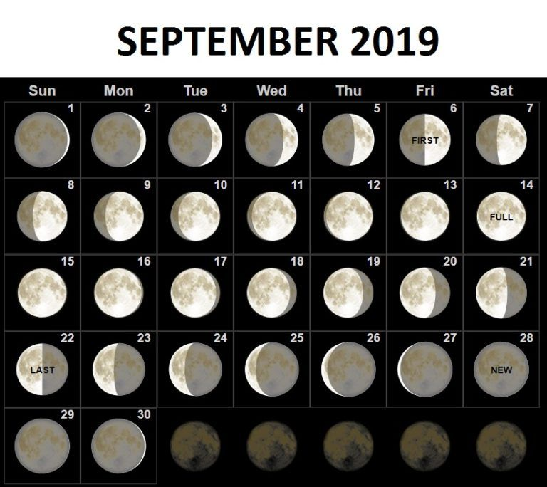 September 2019 Moon Calendar