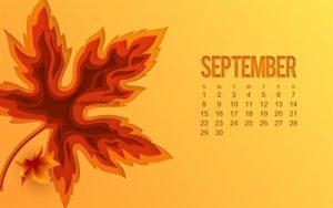 September 2019 Screensaver Calendar
