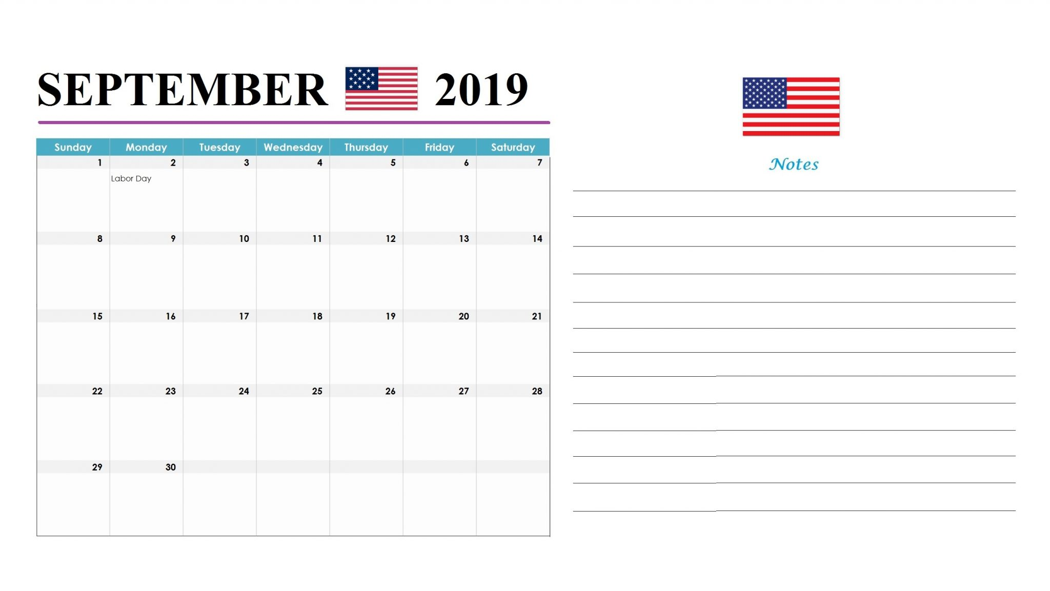 September 2019 United States Holidays Calendar