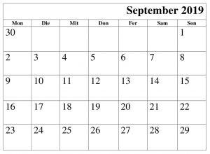 September Kalender 2019 Word