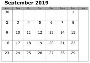 September Kalender Drucken 2019