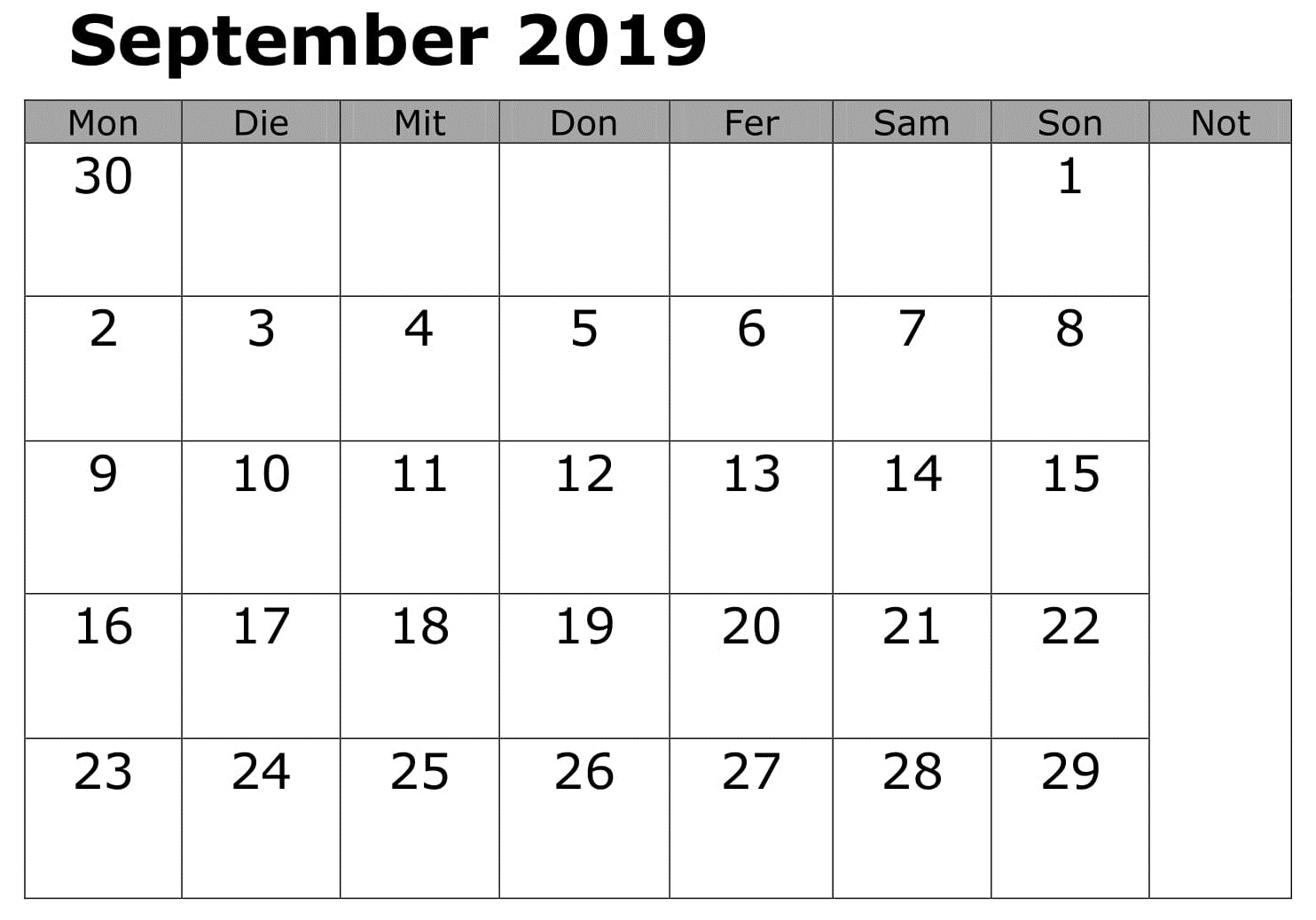 September Kalender Drucken 2019