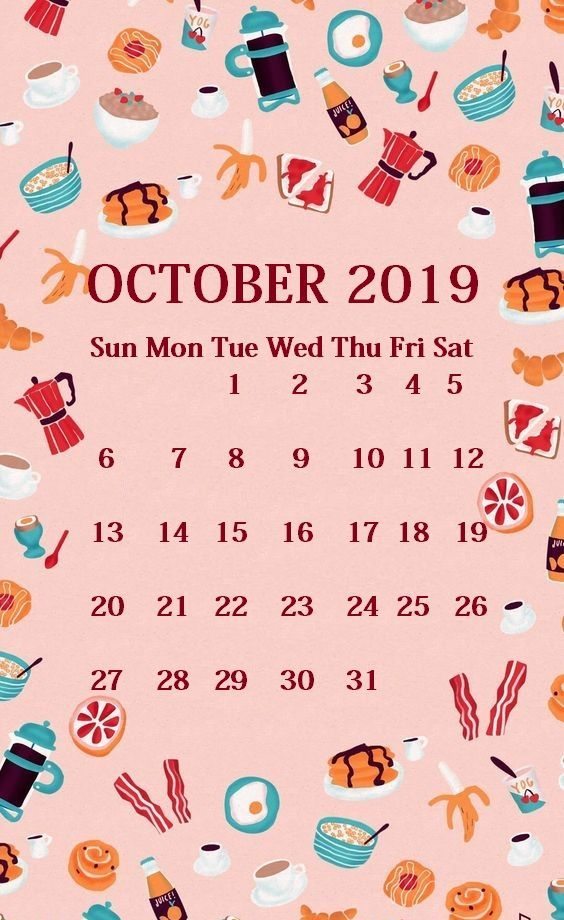 iPhone Calendar Wallpaper for October 2019