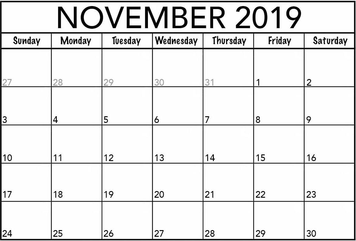 Blank Calendar November 2019 Editable
