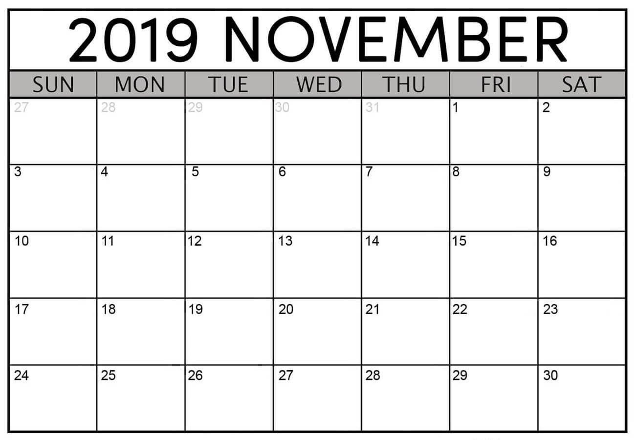 Blank Calendar November 2019 Printable