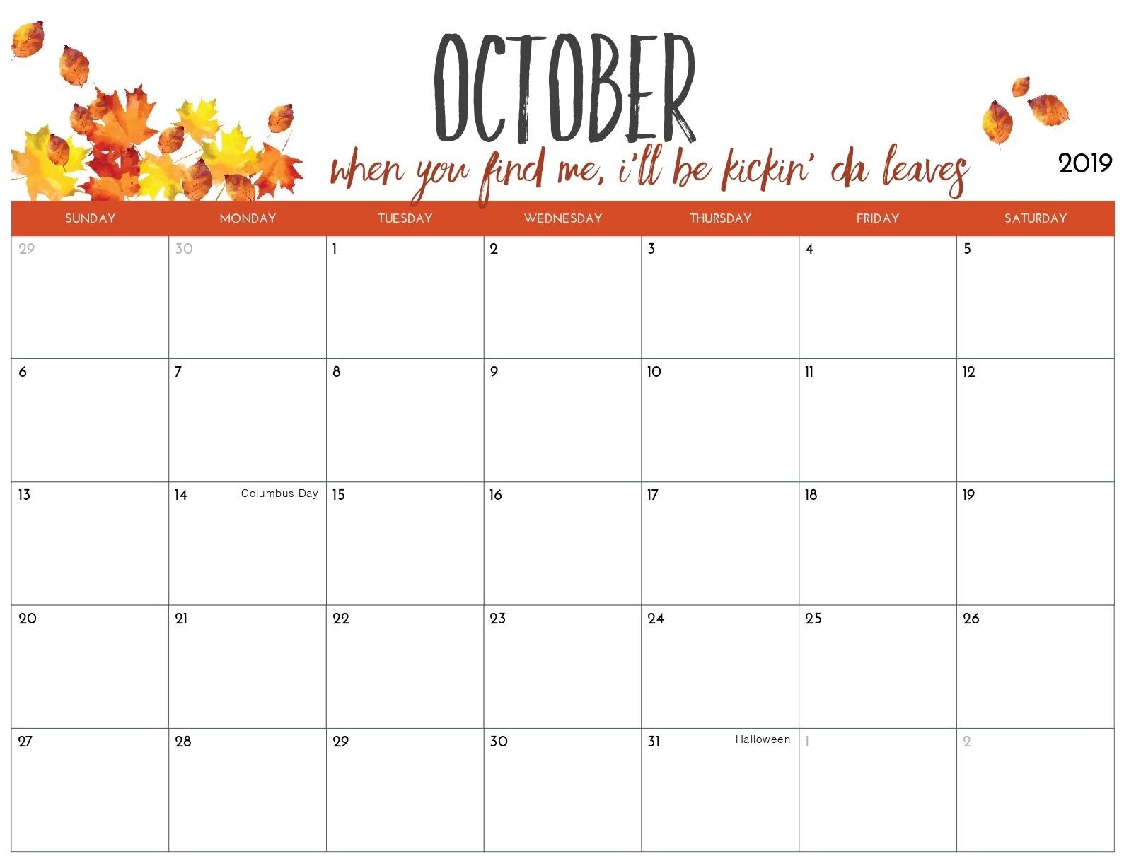 Blank Calendar October 2019 Printable Landscape