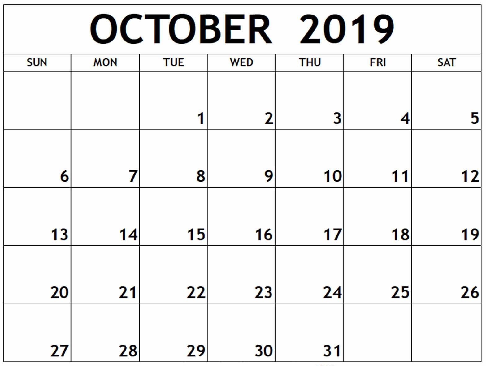 Blank Calendar October 2019 Template