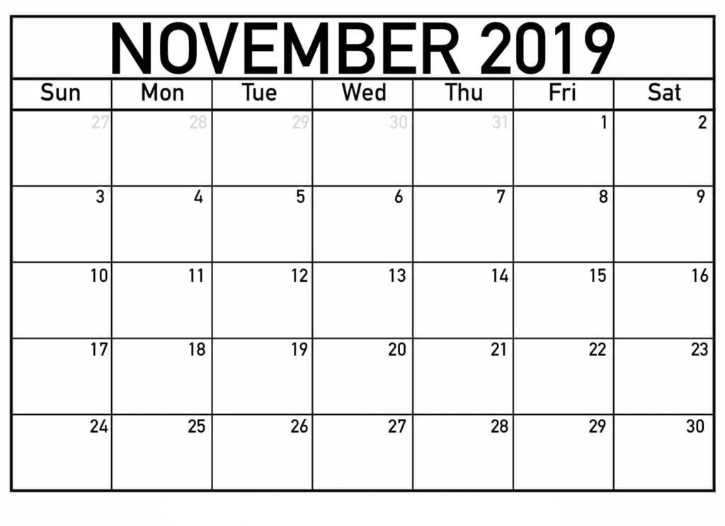 Blank Calendar Printable Template November 2019