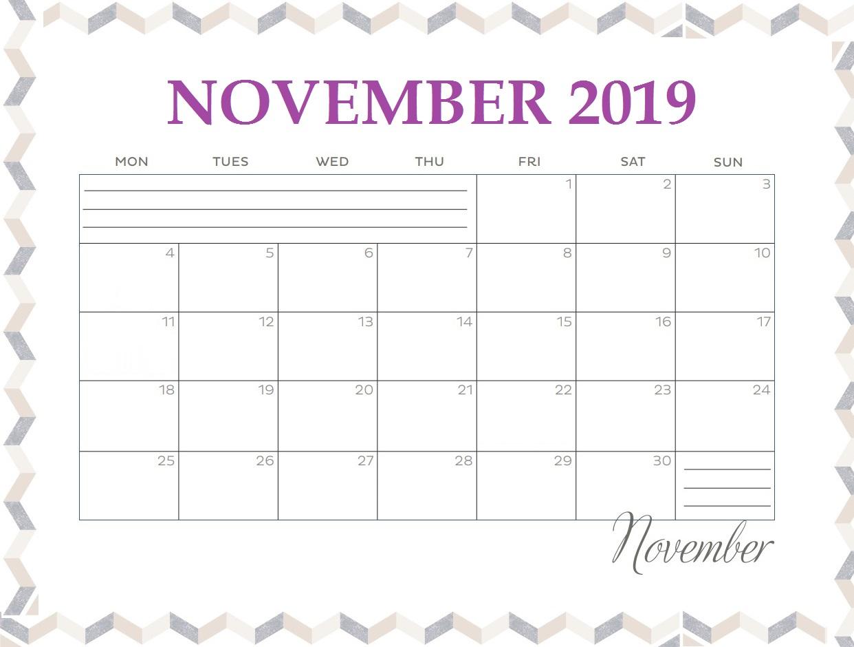 Blank November 2019 Monthly Planner