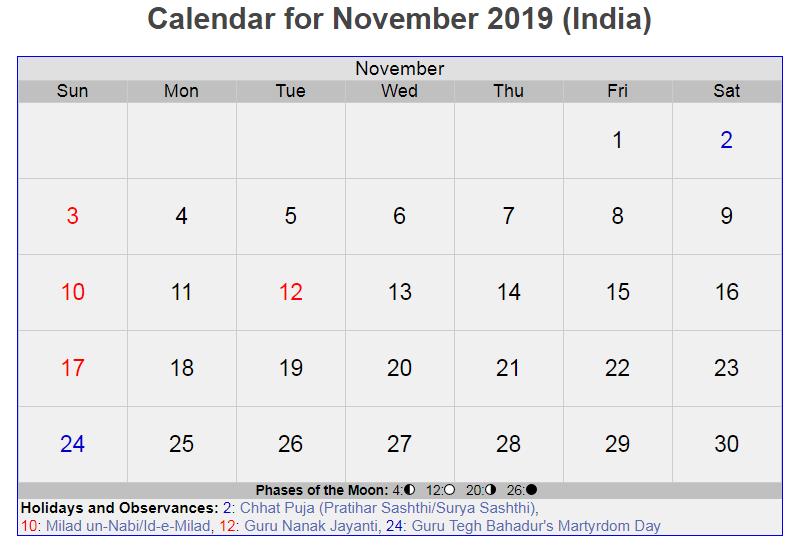Calendar For November 2019 India