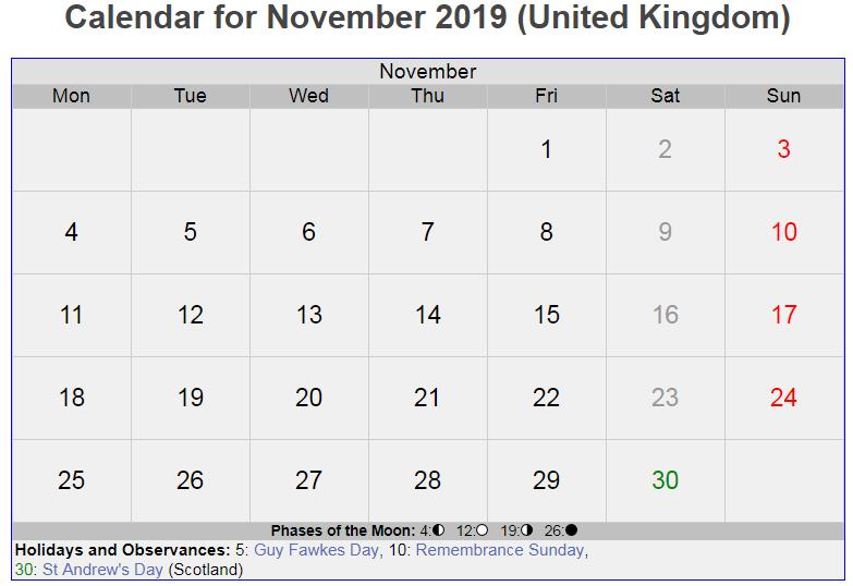 Calendar For November 2019 UK