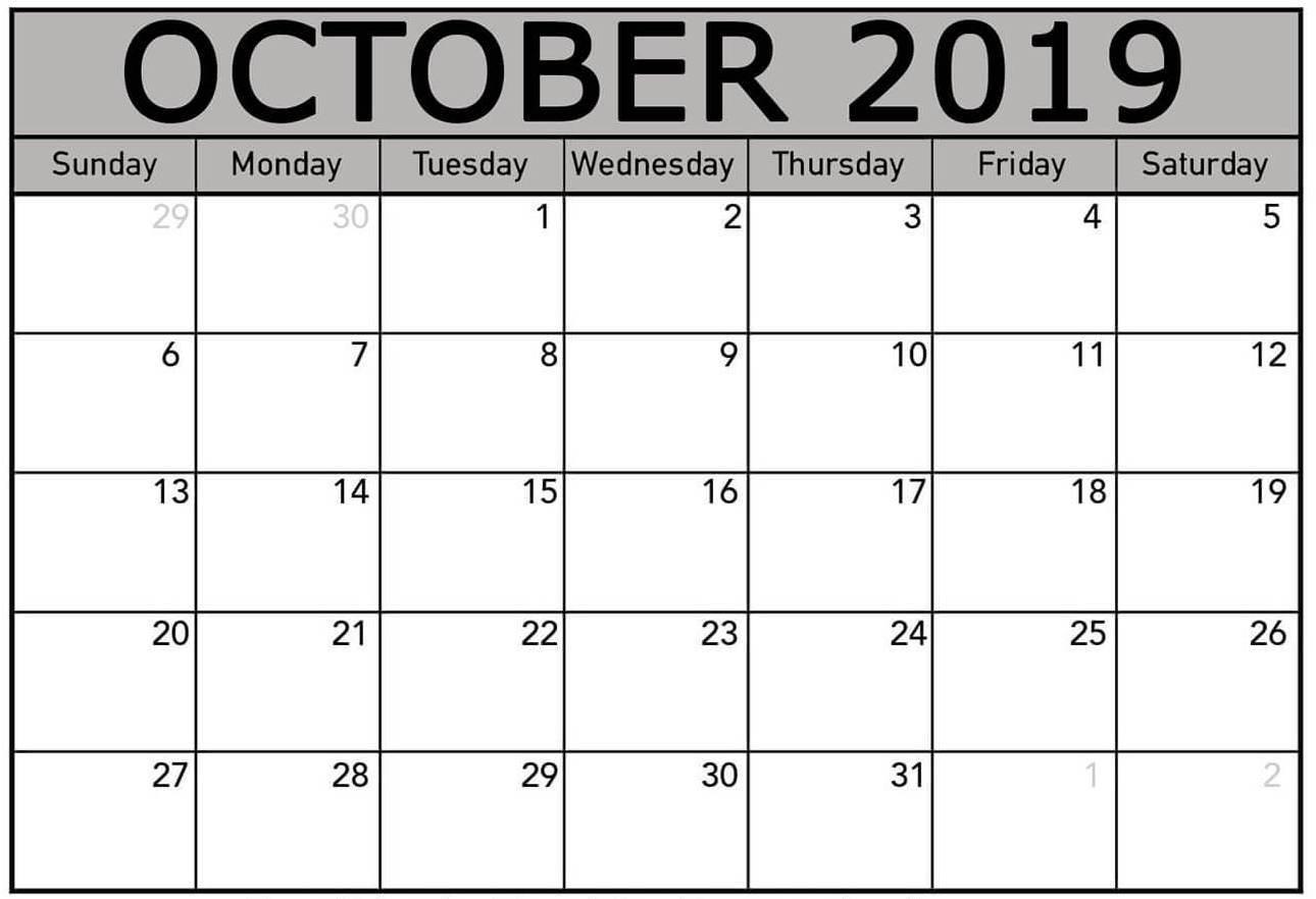 Calendar For October 2019 Excel