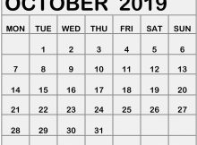 Calendar October 2019 Printable Portrait