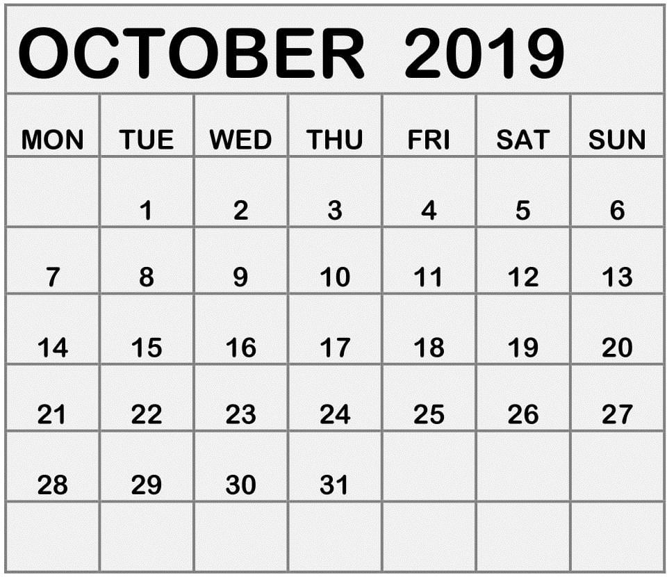 Calendar October 2019 Printable Portrait