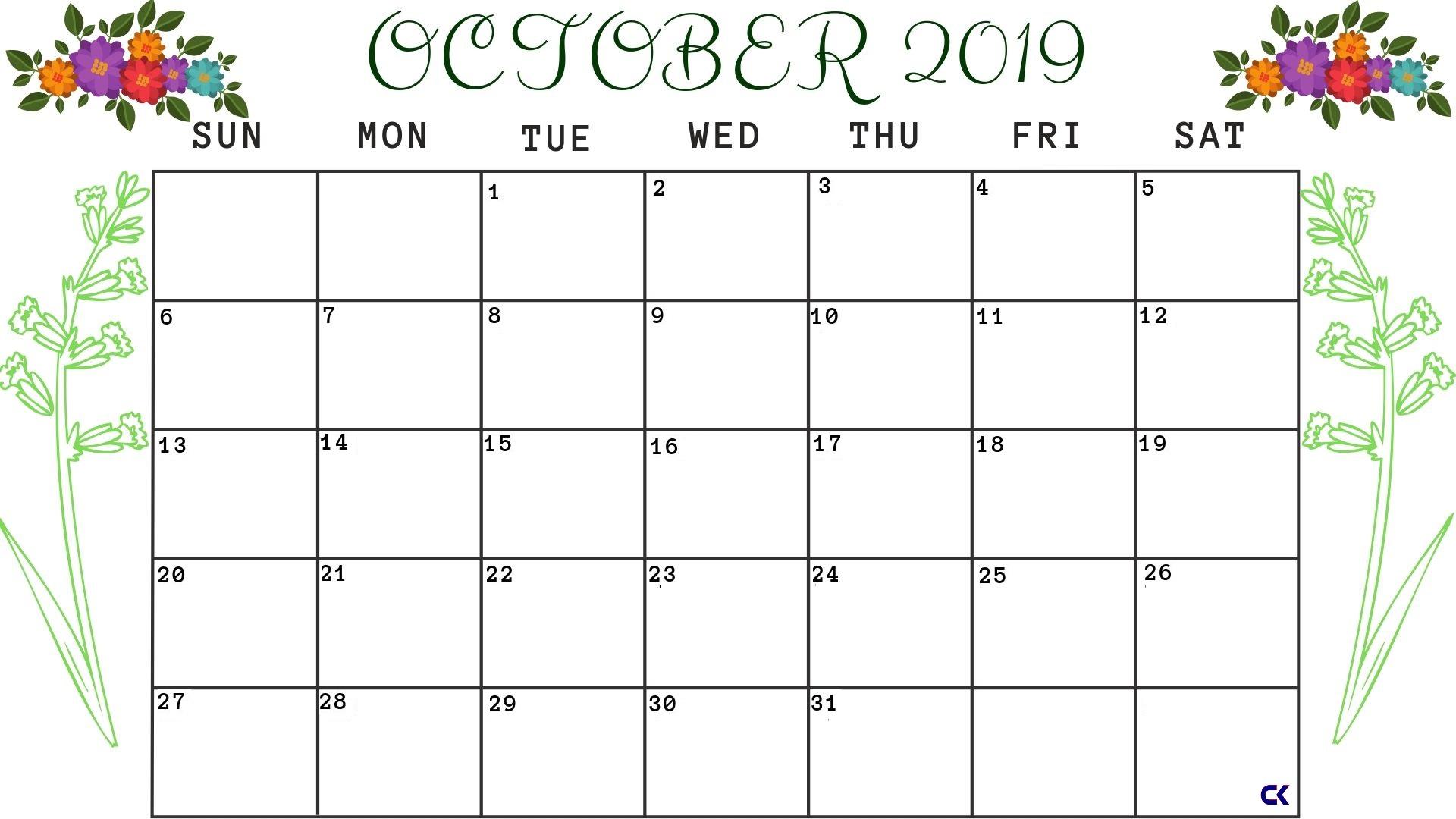 Calendar October 2019 Printable