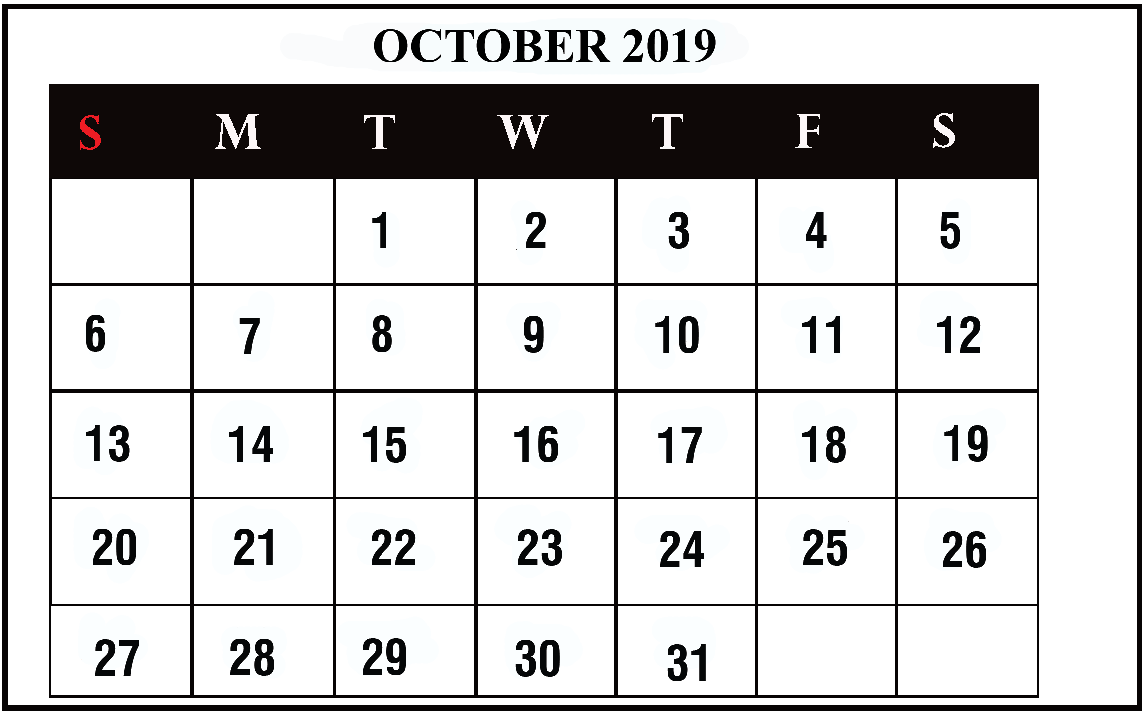 Calendar October 2019 Word
