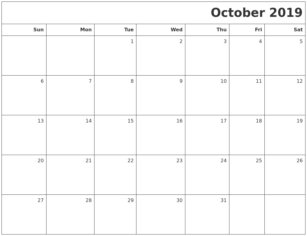 Calendar of October 2019 A4 Page