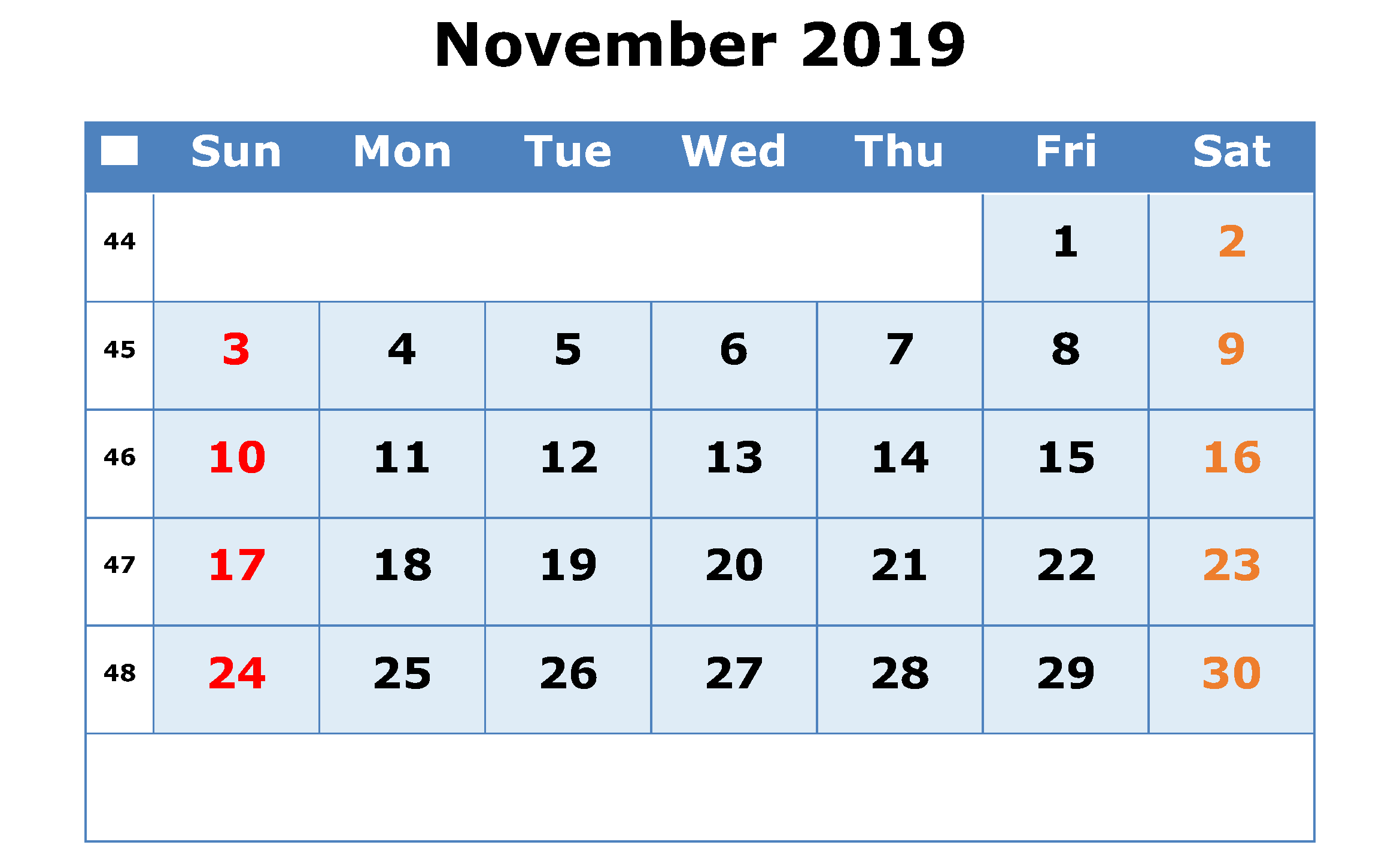 Cute November 2019 Printable Calendar