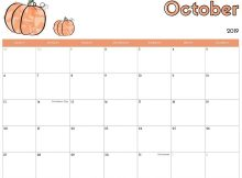 Cute October 2019 Calendar