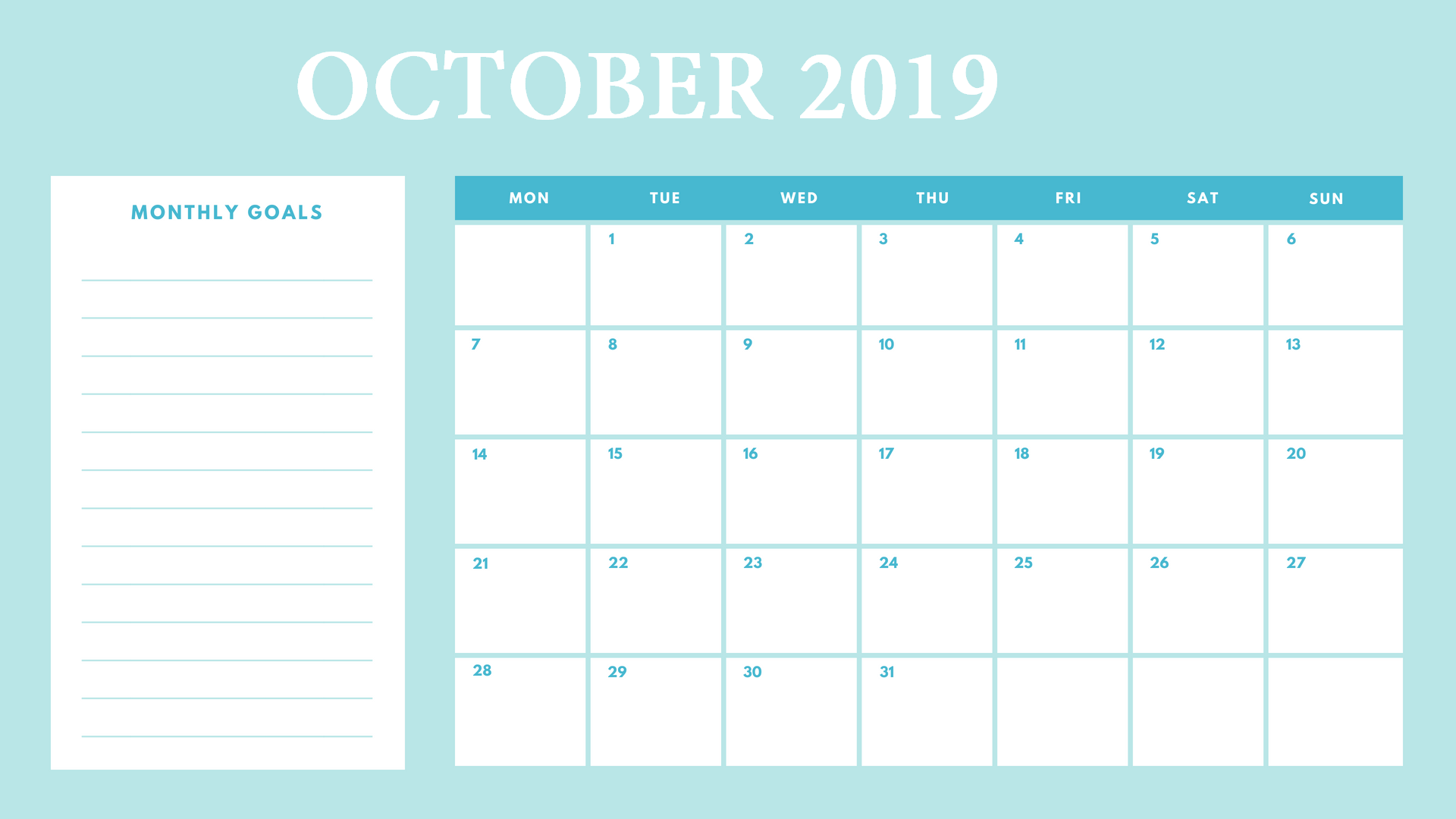 Cute October 2019 Calendar Design