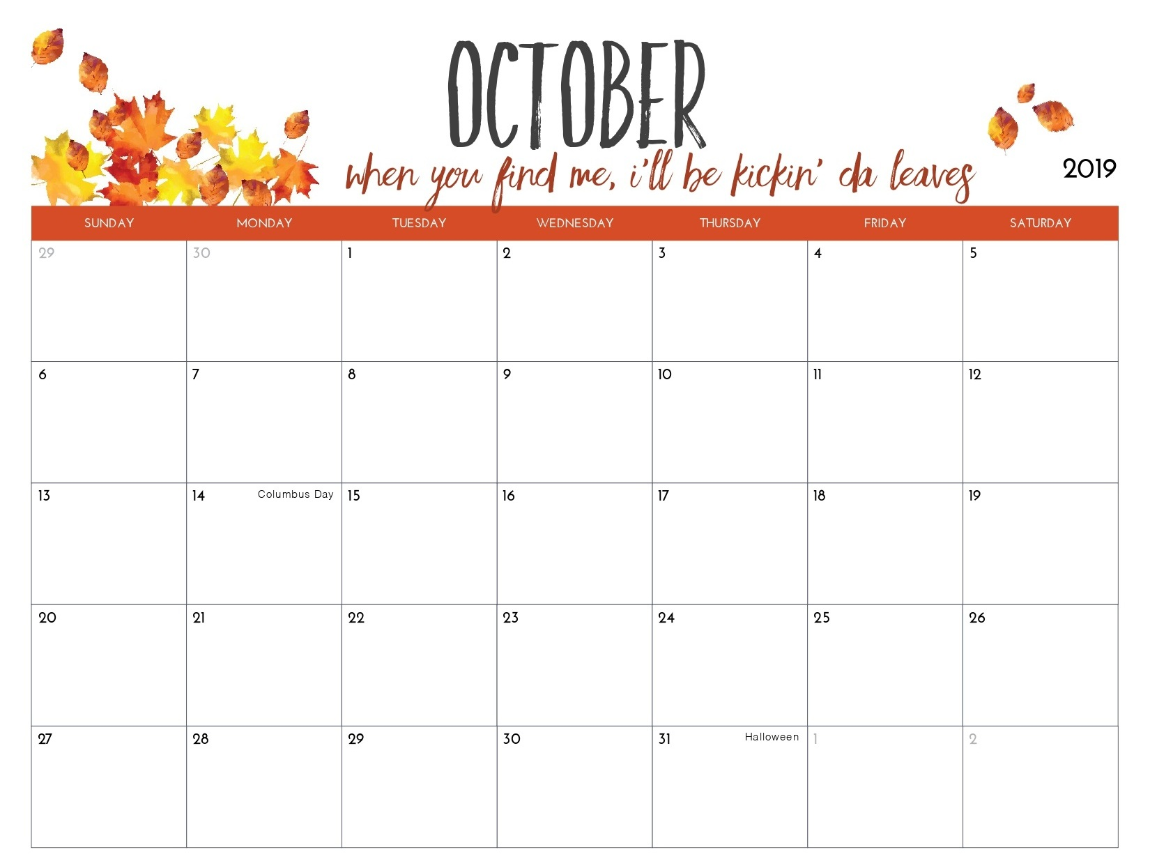 Cute October 2019 Calendar with Holidays