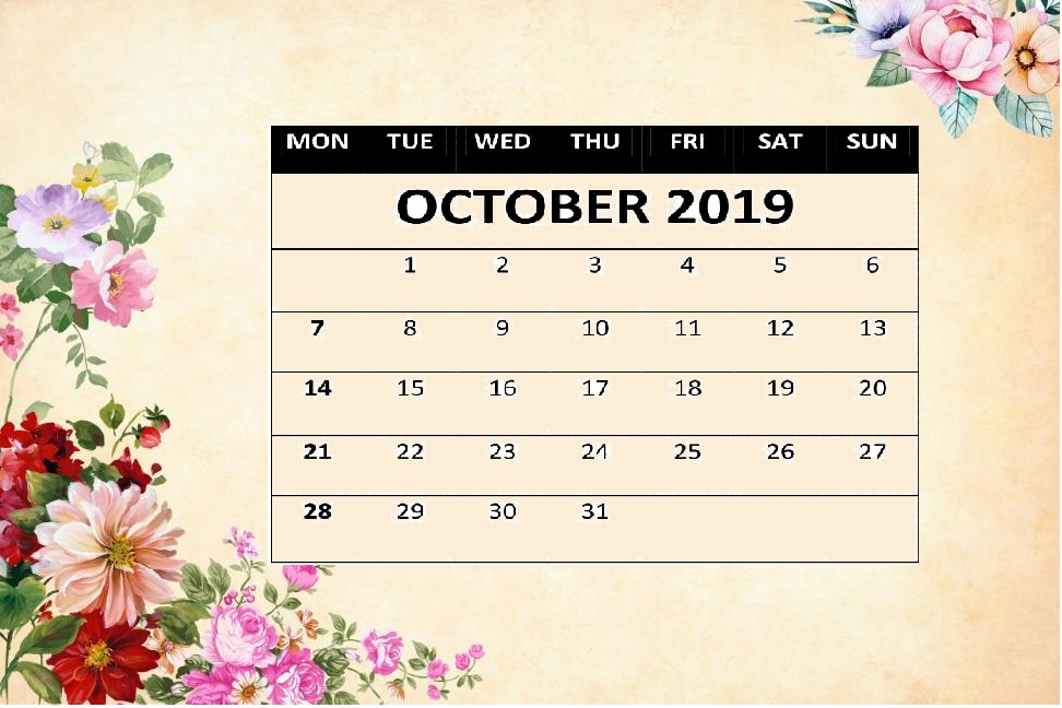 Cute October 2019 Floral Calendar Wallpaper