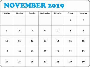 Decorative November 2019 Printable Calendar