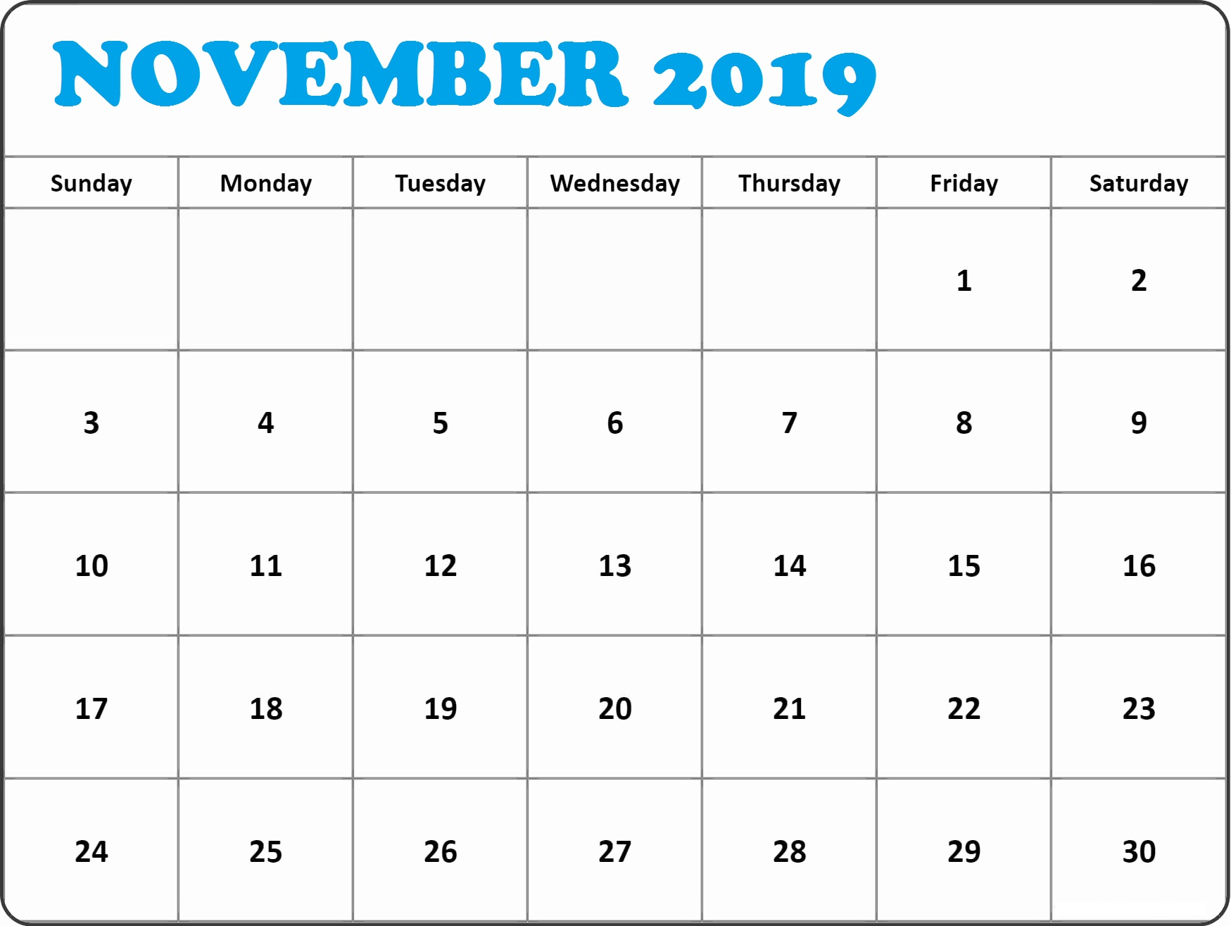 Decorative November 2019 Printable Calendar