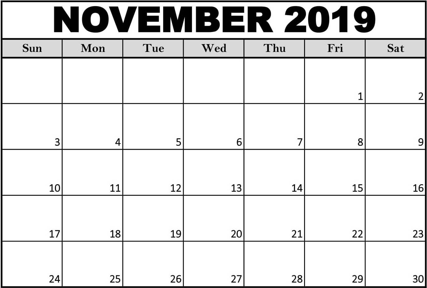 Editable Calendar November 2019 Printable