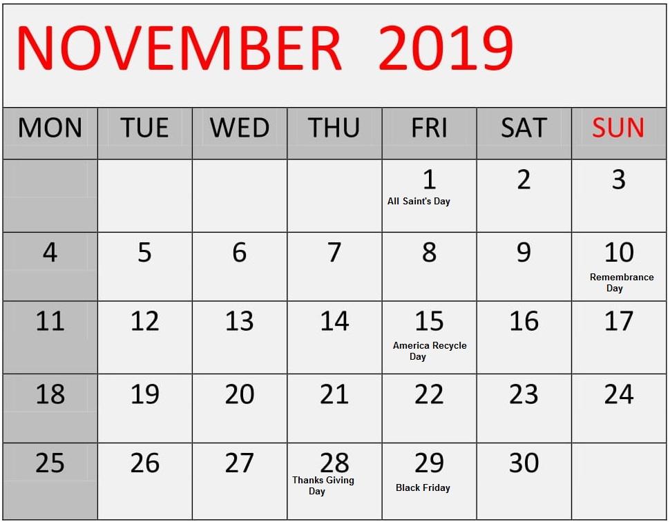 Free Printable November 2019 Calendar With Holidays