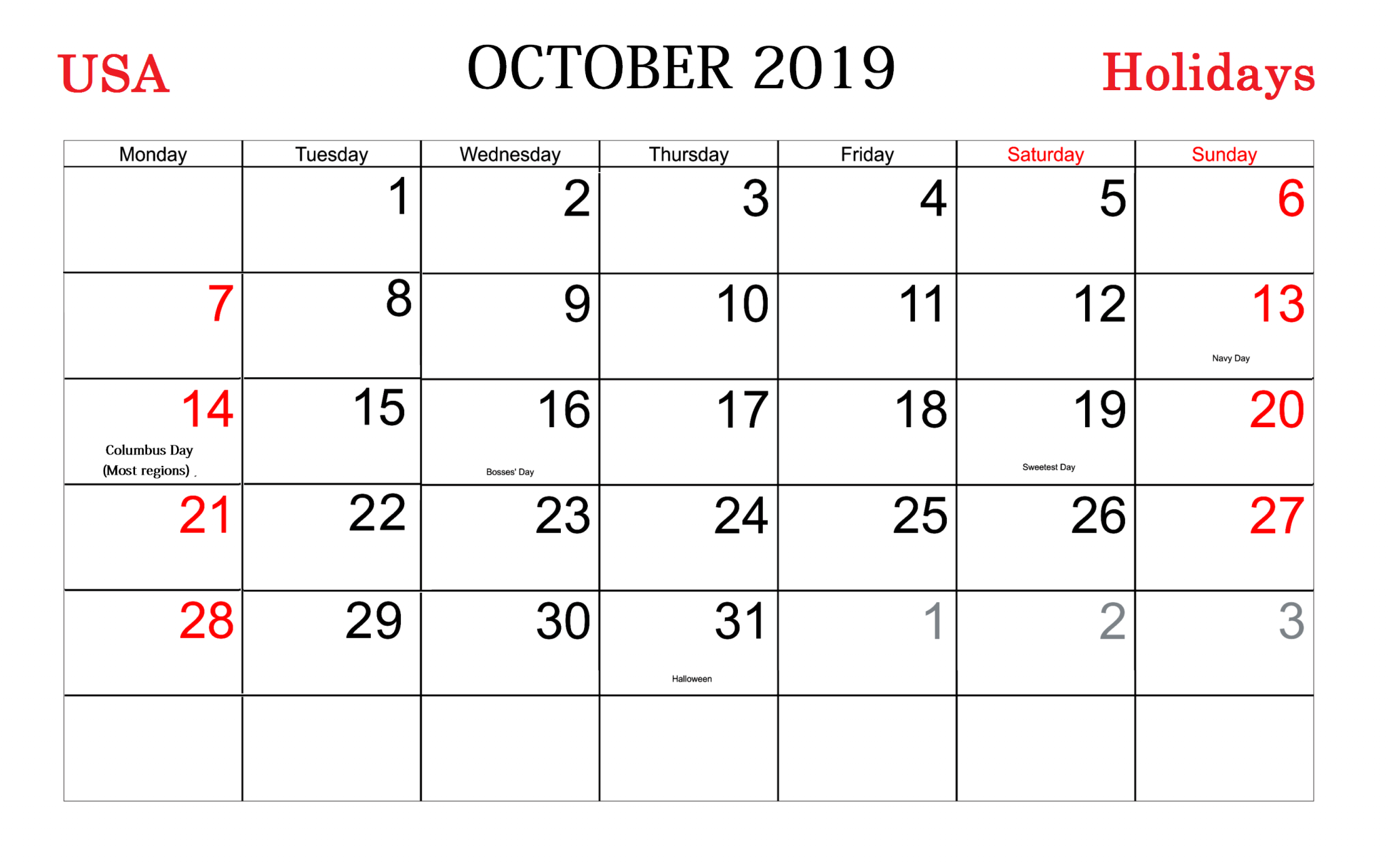 Holidays Calendar of October 2019