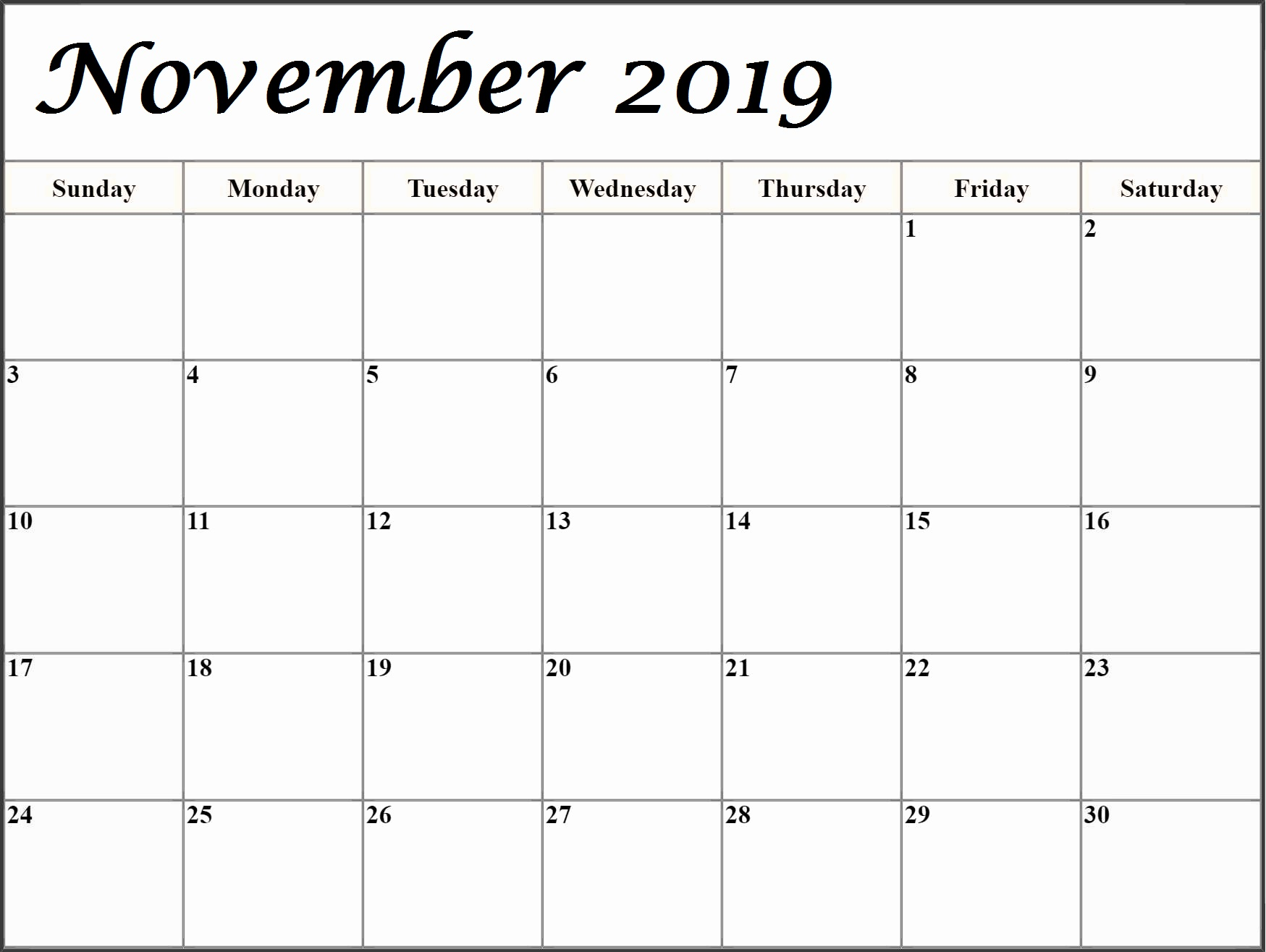 Monthly November 2019 Editable Blank Calendar
