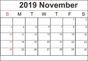 Monthly Printable November 2019 Blank Template