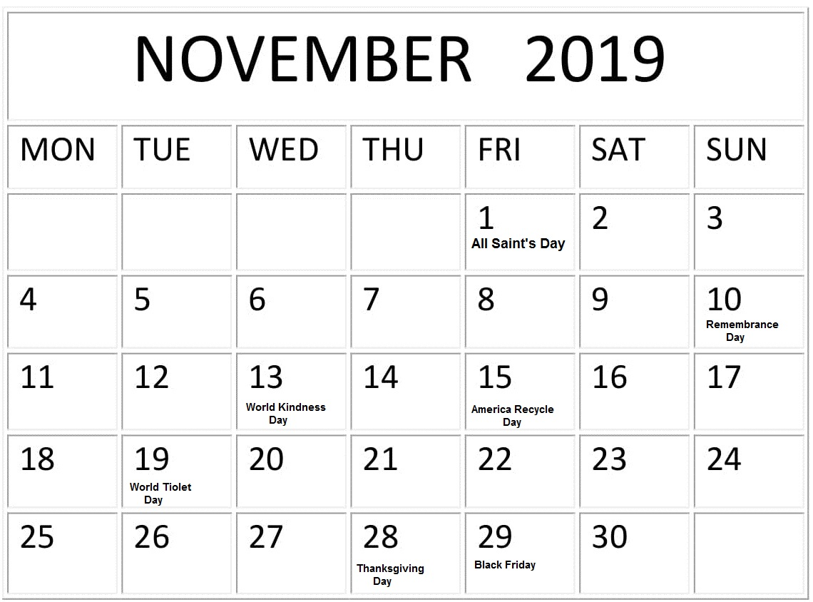 November 2019 Calendar With Bank Holidays