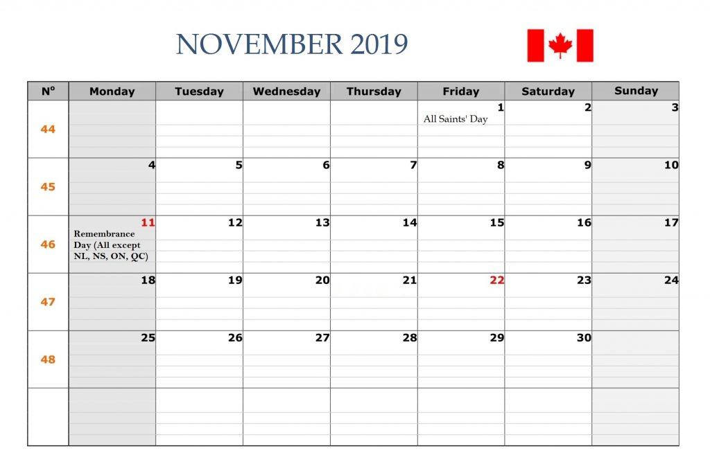 November 2019 Canada Holidays Calendar